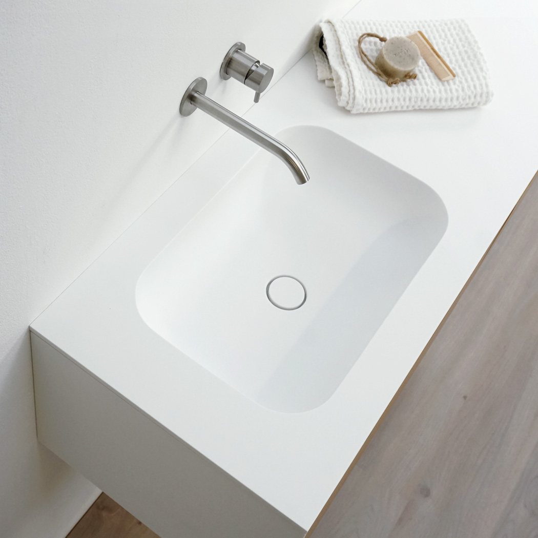 Clay CURVE rounded oval Solid surface HI-MACS made to measure washbasin