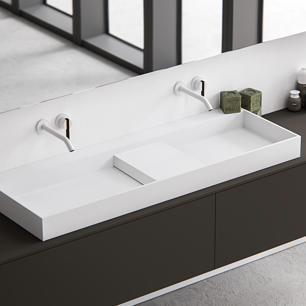 Clay EDGE rectangular Hi-Macs made to measure washbasin